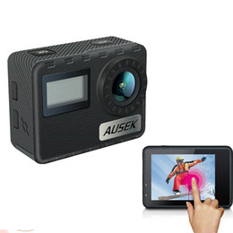 Casco de deporte cámara de vídeo de acción online-Ultra 4K HD 2 pulgadas 170 ° HDMI WIFI Cámaras de acción AT-36DR Cámara dual resistente al agua Cámara deportiva + Control remoto DV DVR Casco Cámara de video