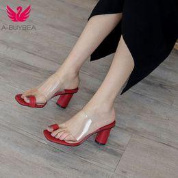 Nouveaux talons hauts été femmes pantoufles en cuir de vache PVC mode femmes chaussures Slip-on peep toe étrange talons noir dames chaussures ? partir de fabricateur
