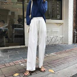 e85f34cfecda Pantalones Mujer Sólido Ropa Coreana Mujer Suelta Todo-fósforo Moda Mujeres  Botón Ocio Capris de pierna ancha Pantalón alto Pantalones elegantes