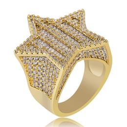 Pentagram de diamante on-line-Prata de ouro de Luxo HipHop diamantes Pentagrama anel zircão hip hop hipster dos homens anel Presentes Da Jóia Rocha Dedo Colorido 7-11