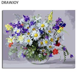Farbe zahlen blumen online-Drawjoy blume gerahmtes bild diy malerei by zahlen malerei kalligraphie dekoration für wohnzimmer wandkunst