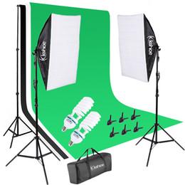 sesión de fotos de fondo Rebajas Sistema de soporte de fondo de 2 m * 3M y kit de iluminación continua Softbox de 140 W 5500 K para fotografía de video y fotografía de productos de estudio fotográfico