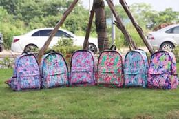 Tapices de lona online-Lilly Mochila Floral Lilly Inspirado Bookbag Mochilas de lona Lila Tapicería Ilumina Lilly mochilas escolares por mayor