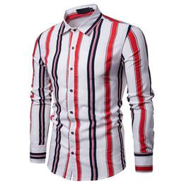 Camisas de vestir delgadas con estilo para hombre online-Moda para hombre Formal delgado Ajuste regular Manga larga Elegante Camisa de algodón Botón informal Camisa de vestir de negocios Tops Blanco