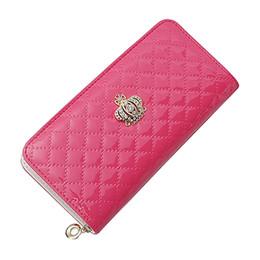 Sacs à main de portefeuille de couronne en Ligne-portefeuille long porte-monnaie pour femme portefeuille femme avec porte-monnaie (Rose Red Crown)