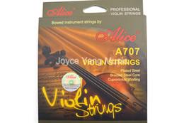 cordas de violino Desconto Alice A707 Violino Cordas aço banhado trançada de aço Núcleo Cupronickel Winding Cordas 1ª a 4ª