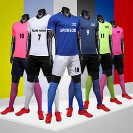 Jérsei de futebol personalizado on-line-Conjuntos De Camisas De Futebol, Camisas De Corrida Personalizadas Com Shorts, Camisa De Treinamento Curto, Custom Soccer Team uniformes, football shirts