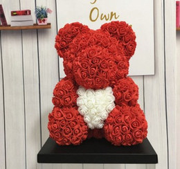 2019 coronas de vid al por mayor Preciosa roja grande de la flor de Rose Oso levantó con el corazón adornos de regalos para el Día de las mujeres Regalo de la esposa de Valentín 25cm 8 colores