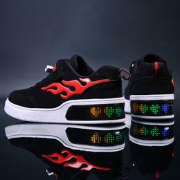 Zapatos de baile online-Zapatos luminosos para niños Zapatos con luz LED para bebés Zapatos para niños Ghost Step Dance Pantalla de carga USB Zapatos deportivos luminosos coloridos