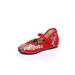 Хлопок ручной работы онлайн-Soft Rubber Bottoms Old Beijing Women Handmade Cotton Fabric Embroidered Ballet Flats Vintage Ladies Canvas Comfort Mother Shoes