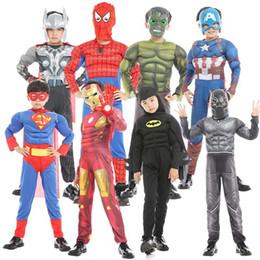 Marvel traje de superhéroe cosplay online-Halloween disfraces cosplay para niños 22 diseños Marvel vengadores Superhéroes spiderman pantera negra Iron Man traje Niños Ropa de Halloween SS224