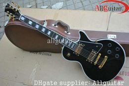 China gold geschäfte online-Schwarz Custom Shop 1958 Ebenholz Griffbrett E-Gitarre Gold Hardware Chinese China Gitarre