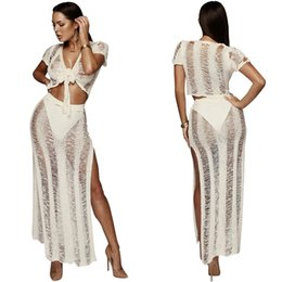 46647323ea93 Top Quality Knit Two Piece Set Hollow Out Sexy V Neck Short Sleeve Front Tie  Crop Top High Slit Maxi Skirt Holiday Outfits