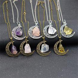 Pietra magica online-Dea della luna Ciondolo in pietra naturale Collana in argento Witch Wicca Magic Gift molti colori