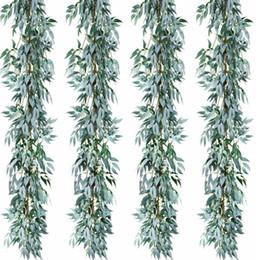 2019 tecido bouquet de flores artificiais 2pcs / lot Artificial Grey folhas de salgueiro Garland Faux Silk Fundo Wedding parede decoração para remoção de ervas daninhas decoração Leaves