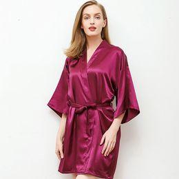 ee9322004 Daeyard Silk Satin Robe For Women Sexy Solid Short Kimono Boudoir Robe  Bride Bridesmaid Dressing Gown Bathrobe Nightie Homewear sexy short  nighties ...