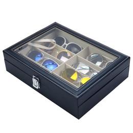 tarjetas de visita rectangulares Rebajas Caja de almacenamiento de gafas de sol con ventana Gafas de cuero de imitación Vitrina Organizador de almacenamiento Colector 8 ranuras