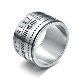 anéis giratórios de aço inoxidável Desconto Anéis de designer de jóias homens anéis anel de aço inoxidável titanium com rotação de tempo no anel jóias especiais NE1060