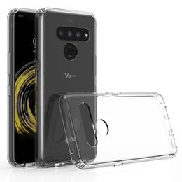 Caixa de telefone celular transparente transparente on-line-para LG Caso V50, TPU macio e duro plástico acrílico Dual Layer tampa transparente telefone celular para LG V50 V40 V30