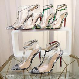 Patrones de zapatos de tacón alto online-Zapatos de mujer de diseño de lujo de moda Zapatos de tacón alto con estampado de serpiente Zapatos de punta de cuero negro Bombas Zapatos de vestir de tacón alto de 10 cm Zapatos de boda rojos