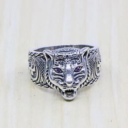 2019 anel de cabeça de ouro indiano 100% real 925 sterling silver marca anéis para mulheres dos homens tigre amantes da festa de casamento presente anel de moda jóias a3264 / a3265