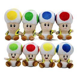 Fumetto della testa di funghi online-17 cm / 7 pollici Super Mario giocattoli di peluche cartoon Super Mario Testa di fungo Animali di peluche per il regalo di Natale per bambini