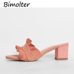 ladies wedding slippers Promo Codes - Bimolter 2019 Women Elegant Ruffles Summer Slippers WomanThick Heels Ladies Floral Casual Wedding Shoes Comfort Slippers NC019