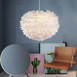 Glanz anhänger online-Feder Pendelleuchten Hanglamp Pendelleuchte Nordic Design Lustre Vintage Loft Decor Esszimmer Küche Home Leuchten LED
