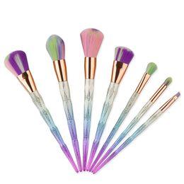 Labios de diamante online-Diamond Makeup Brush Set Profesional Blush Powder Eyebrow Eyeshadow Lip Blending Make Up Brush Herramientas Cosméticas 7 unids / set RRA1301