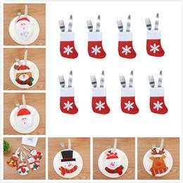 Deutschland 11 Arten Weihnachten Messer Gabel Taschen Weihnachten Süßigkeiten Taschen Weihnachtsschmuck kleine Schneemann Elch und Santa kreative Heimat Geschirr Sets Versorgung