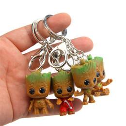 Keychain da galáxia dos guardiães on-line-4pcs / lot Guardians Galaxy Figura árvore homem decoração do carro Brinquedos Groots Keychain Modelo Árvore Red homem estátua estatueta do bebê Keychain