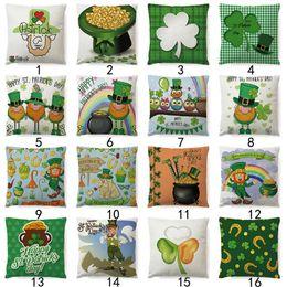 Taie d'oreiller en lin vert en Ligne-Chanceux Trèfle Fleurs Taie d'oreiller Trèfle Vert Fleur Coton Lin Canapé Salon Taie D'oreiller Coussin