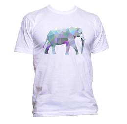 30c60fdee47da4 t shirt elephant Promo Codes - Geometric Coloured Elephant Unisex T-Shirt  Mens Womens Fashion