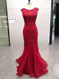 5491 Imagem Real Sereia Vermelho Vestidos de Baile de Luxo Frisado Cristal Sweep Train Zipper Voltar Formal Noite Ocasião Vestido de Festa de