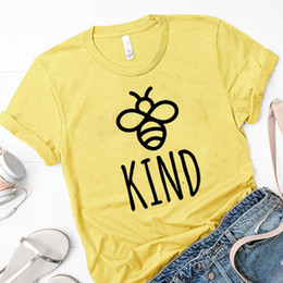 bee tee shirts Promo Codes - Women T-shirt Be Kind Tee Shirt Woman Letter Printed Clothes Summer T Save The Bees Womens Graphic Tee Female Top Drop Shipping