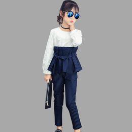 Conjuntos de ropa 12 años online-Ropa para niños Primavera Otoño Vestido de retazos + Vestido Ropa para niñas Conjuntos Ropa de rayas para adolescentes 8 10 12 14 Años J190713