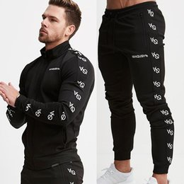 mens jacket xxl Promo Codes - Mens Running Sportswear Sweatshirt Sweatpants Trousers Gym Fitness Training Jackets Pants 2pcs Sets Male Joggers Sports Clothing