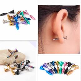 Piercing per gli uomini online-Moda Punk Oro Nero Colore Acciaio Chiodo Vite Stud orecchino Trendy Donna Uomo Helix Ear Piercing Gioielli di moda