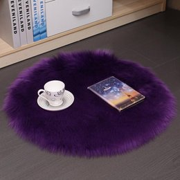 vida navideña decoración de navidad Rebajas Alfombra de piel de oveja Artificial suave alfombra de lana Artificial alfombras peludas calientes alfombras de piel de asiento alfombras de dormitorio Circular múltiples tamaños