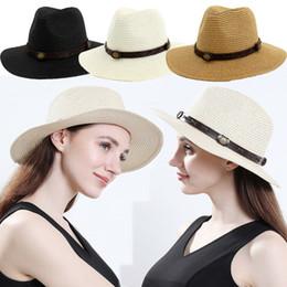 mens breite brutalsommerhüte Rabatt Herren Damen Sommer Packable Stroh Breiter Krempe Panama Fedora Hut Mit Band Neu