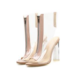 tacchi alti chiusi alla caviglia Sconti Plus Size 42 Donna Stivaletti Peep Toe Sexy Front Zipper Closed Lady PVC Trasparente Tacchi alti di cristallo Stivaletti Scarpa estiva