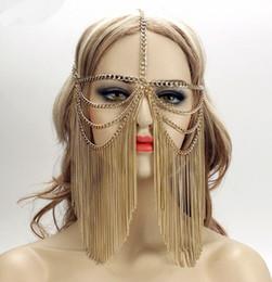 2019 bolos de casamento de ouro branco preto Mulheres Sexy Multi Camada Borla Cabeça Cadeia Cocar Jóias Testa Headband Chainmail Máscara Facial Corpo Jóias