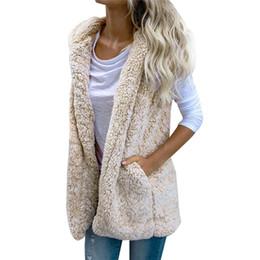 Sexy chaleco para mujer de invierno cálido con capucha Open Stitch Outwear Casual Cardigan Abrigo Faux Fur Zip Up Sherpa Chaqueta Moda femenina niñas desde fabricantes