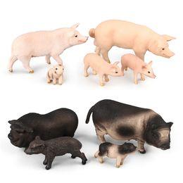 2019 modelos de mesa Simulação de crianças modelo animal brinquedo bonito porco estatueta decoração animal de brinquedo de plástico modelo modelo de mesa de areia cena modelos de mesa barato