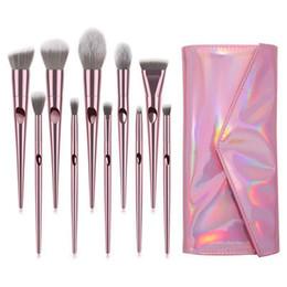 conjunto molhado Desconto Profissional Rose Gold Maquiagem Escova 10 Pçs / set Macio Maquiagem Escova Wet N Selvagem Titular Eyeshadow Foundation Pó Maquiagem Escova