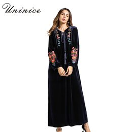 5ec47b9076 Fashion Women s Maxi Dress Embroidery Velvet Winter Abaya Warm Robe Gowns  Loose Style Muslim Middle East Arab Islamic Clothing