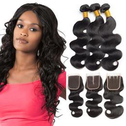 miglior pezzo di chiusura dei capelli Sconti Fasci di capelli umani dell'onda del corpo di 3 pezzi con chiusura i capelli umani naturali neri di qualità superiore del nero di 10-28 pollici capelli umani del grado 7A