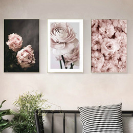flowers posters canvas Promo Codes - Romantic Modern Pink Rose Flowers Canvas Paintings Posters Prints Valentine's Gift Wall Art Picture Bedroom Home Decor