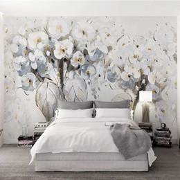 Moda moderna Fiori bianchi Pittura a olio Carta da parati murale 3D  Soggiorno camera da letto Abstract Art Design Home Decor carta da parati  per ...