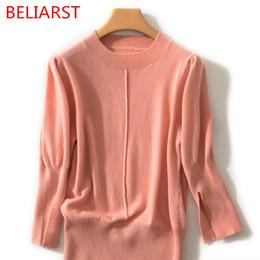 lana pura per la lavorazione a maglia Sconti BELIARST 2019 Spring New Pure Wool Sweater Pullover girocollo donna casual loose manica a sette punte con bottoming maglione